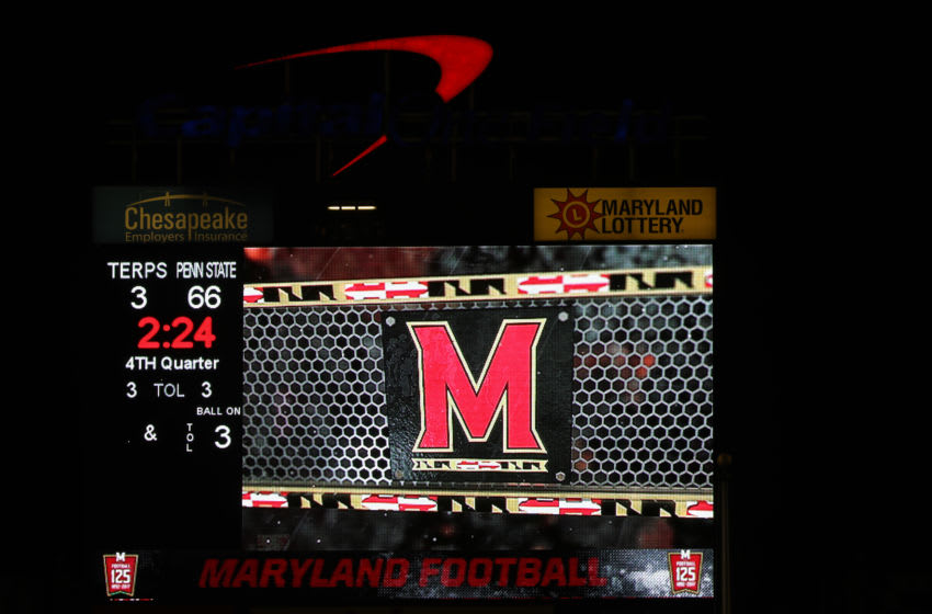 COLLEGE PARK, MD - NOVEMBER 25: The scoreboard shows the final score of the Penn State Nittany Lions and Maryland Terrapins game at Capital One Field on November 25, 2017 in College Park, Maryland. (Photo by Rob Carr/Getty Images)
