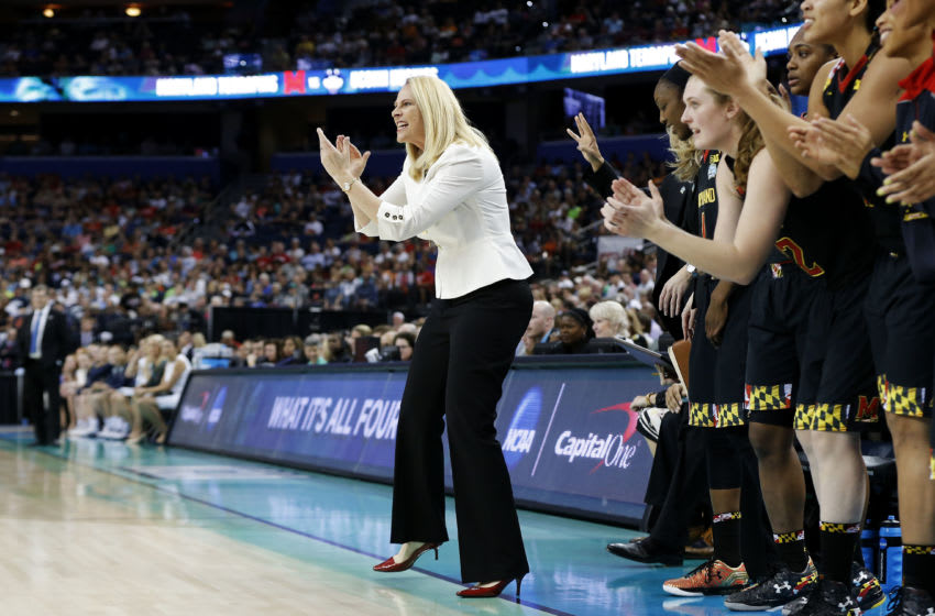 TAMPA, FL - APRIL 05: Head coach Brenda Frese of the Maryland Terrapins reacts in the first half against the Connecticut Huskies during the NCAA Women's Final Four Semifinal at Amalie Arena on April 5, 2015 in Tampa, Florida. (Photo by Mike Carlson/Getty Images)