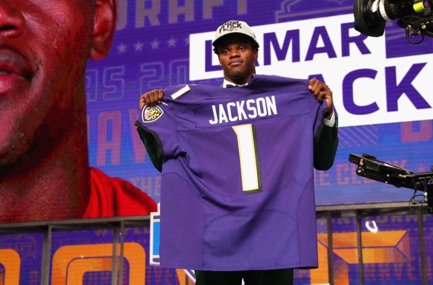 ARLINGTON, TX - APRIL 26: Lamar Jackson of Louisville poses after being picked