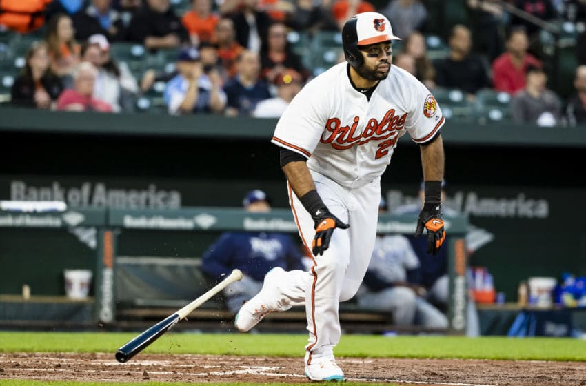 BALTIMORE, MD - APRIL 26: Pedro Alvarez #24 of the Baltimore Orioles doubles against the Tampa Bay Rays during the second inning at Oriole Park at Camden Yards on April 26, 2018 in Baltimore, Maryland. (Photo by Scott Taetsch/Getty Images)