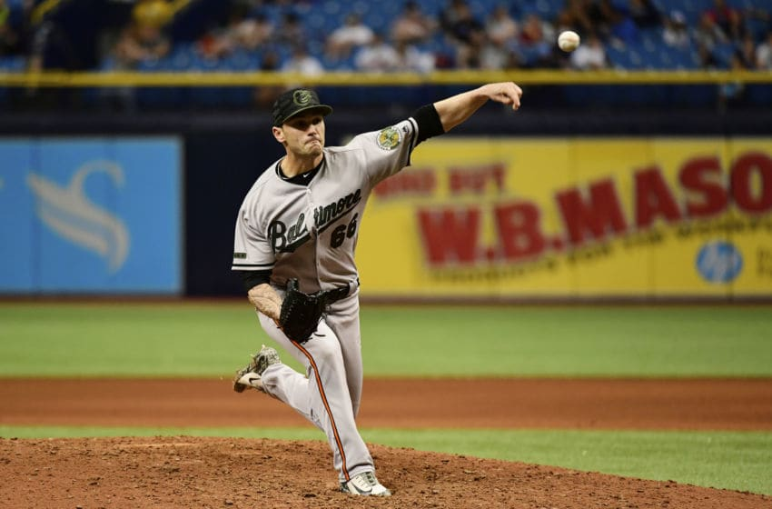 ST PETERSBURG, FL - MAY 27: Tanner Scott #66 of the Baltimore Orioles throws a pitch in the eighth inning on May 27, 2018 at Tropicana Field in St Petersburg, Florida. The Rays won 8-3. (Photo by Julio Aguilar/Getty Images)