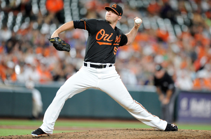 BALTIMORE, MD - JUNE 15: Zach Britton #53 of the Baltimore Orioles pitches in the eighth inning against the Miami Marlins at Oriole Park at Camden Yards on June 15, 2018 in Baltimore, Maryland. (Photo by Greg Fiume/Getty Images)