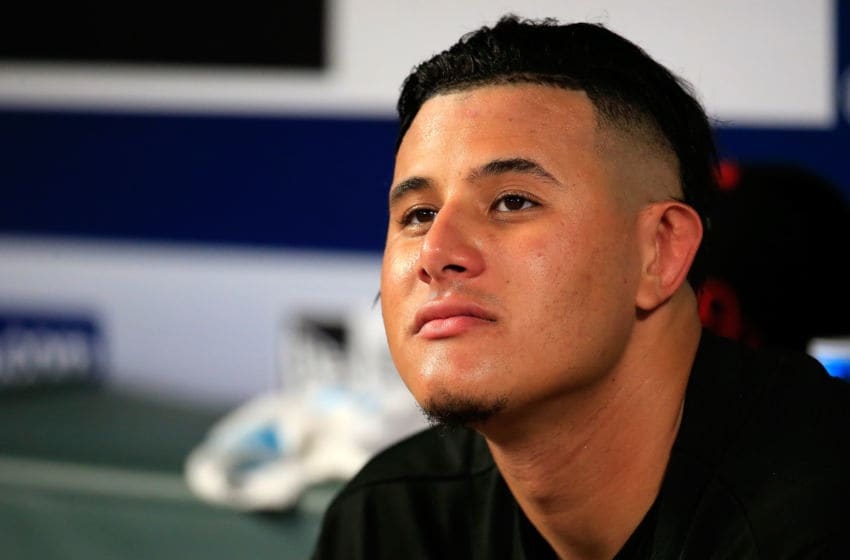 ATLANTA, GA - JUNE 22: Manny Machado #13 of the Baltimore Orioles looks on from the dugout during the fifth inning against the Atlanta Braves at SunTrust Park on June 22, 2018 in Atlanta, Georgia. (Photo by Daniel Shirey/Getty Images)
