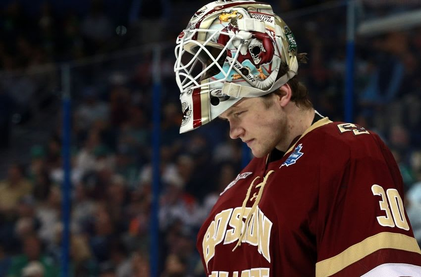 Apr 7, 2016; Tampa, FL, USA; Boston College Eagles goalie Thatcher Demko (30) looks down during the third period of the semifinals of the 2016 Frozen Four college ice hockey tournament at Amalie Arena. Quinnipiac Bobcats defeated the Boston College Eagles 3-2. Mandatory Credit: Kim Klement-USA TODAY Sports