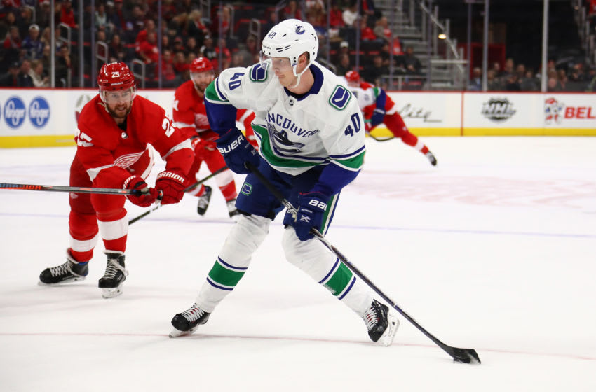 DETROIT, MICHIGAN - NOVEMBER 06: Elias Pettersson #40 of the Vancouver Canucks takes a shot while playing the Detroit Red Wings at Little Caesars Arena on November 06, 2018 in Detroit, Michigan. Detroit won the game 3-2. (Photo by Gregory Shamus/Getty Images)