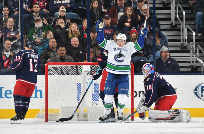 COLUMBUS, OH - DECEMBER 11: Jake Virtanen #18 of the Vancouver Canucks reacts after the Vancouver Canucks score a goal during the third period of a game against the Columbus Blue Jackets on December 11, 2018 at Nationwide Arena in Columbus, Ohio. (Photo by Jamie Sabau/NHLI via Getty Images)