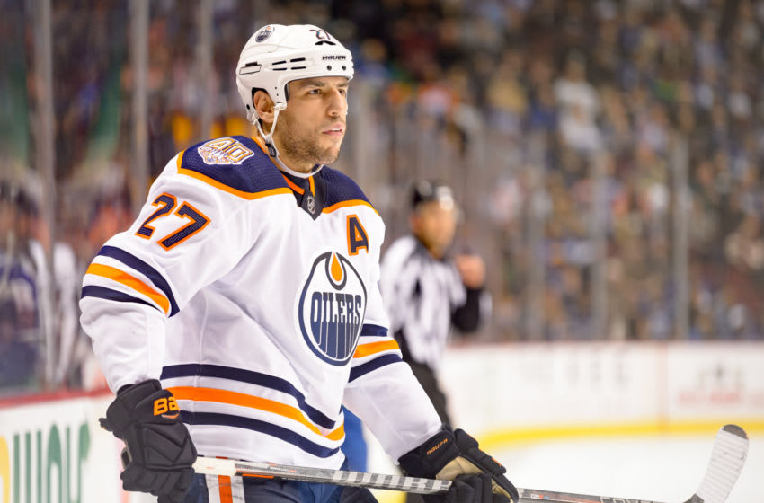 VANCOUVER, BC - DECEMBER 16: Edmonton Oilers Left Wing Milan Lucic (27) skates up ice during their NHL game against the Vancouver Canucks at Rogers Arena on December 16, 2018 in Vancouver, British Columbia, Canada. Vancouver won 4-2. (Photo by Derek Cain/Icon Sportswire via Getty Images)