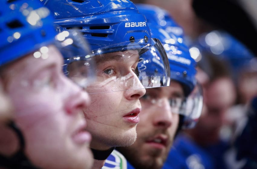 VANCOUVER, BC - DECEMBER 6: Elias Pettersson #40 of the Vancouver Canucks looks on from the bench during their NHL game against the Nashville Predators at Rogers Arena December 6, 2018 in Vancouver, British Columbia, Canada. (Photo by Jeff Vinnick/NHLI via Getty Images)