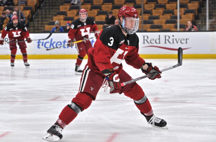 BOSTON, MA - FEBRUARY 4: Harvard Crimson defenseman Jack Rathbone (3) looks for a pass from a teammate. During the Harvard Crimson game against the Boston College Eagles on February 4, 2019 at TD Garden in Boston, MA.(Photo by Michael Tureski/Icon Sportswire via Getty Images)