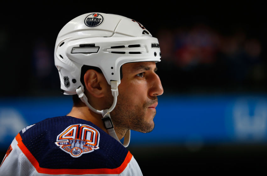NEW YORK, NY - FEBRUARY 16: Milan Lucic #27 of the Edmonton Oilers skates against the New York Islanders at Barclays Center on February 16, 2019 the Brooklyn borough of New York City. New York Islanders defeated the Edmonton Oilers 5-2. (Photo by Mike Stobe/NHLI via Getty Images)