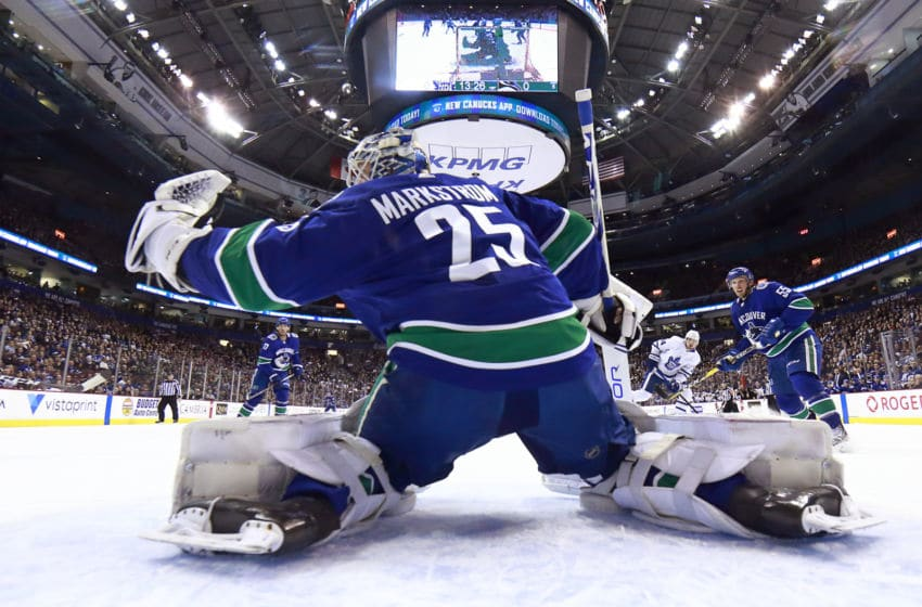 VANCOUVER, BC - MARCH 6: Jacob Markstrom #25 of the Vancouver Canucks makes a save during their NHL game against the Toronto Maple Leafs at Rogers Arena March 6, 2019 in Vancouver, British Columbia, Canada. Vancouver won 3-2. (Photo by Jeff Vinnick/NHLI via Getty Images)