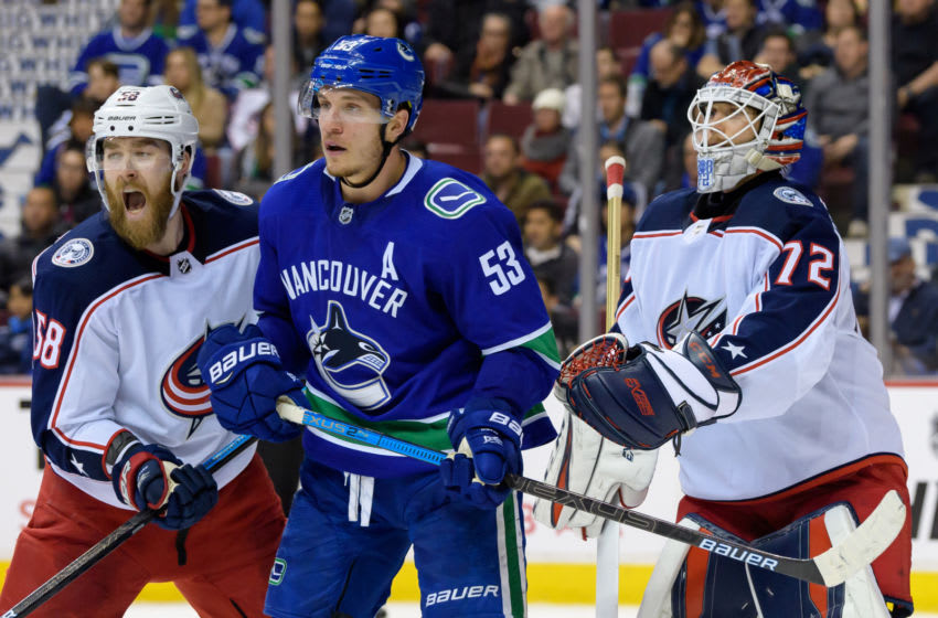 VANCOUVER, BC - MARCH 24: Vancouver Canucks Center Bo Horvat (53) stands in front of Columbus Blue Jackets Goalie Sergei Bobrovsky (72) and Defenceman David Savard (58) during their NHL game at Rogers Arena on March 20, 2019 in Vancouver, British Columbia, Canada. (Photo by Derek Cain/Icon Sportswire via Getty Images)