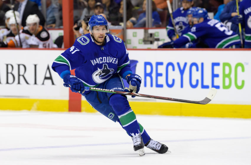 VANCOUVER, BC - MARCH 26: Vancouver Canucks Left Wing Sven Baertschi (47) skates up ice during their NHL game against the Anaheim Ducks at Rogers Arena on March 26, 2019 in Vancouver, British Columbia, Canada. Anaheim won 5-4. (Photo by Derek Cain/Icon Sportswire via Getty Images)