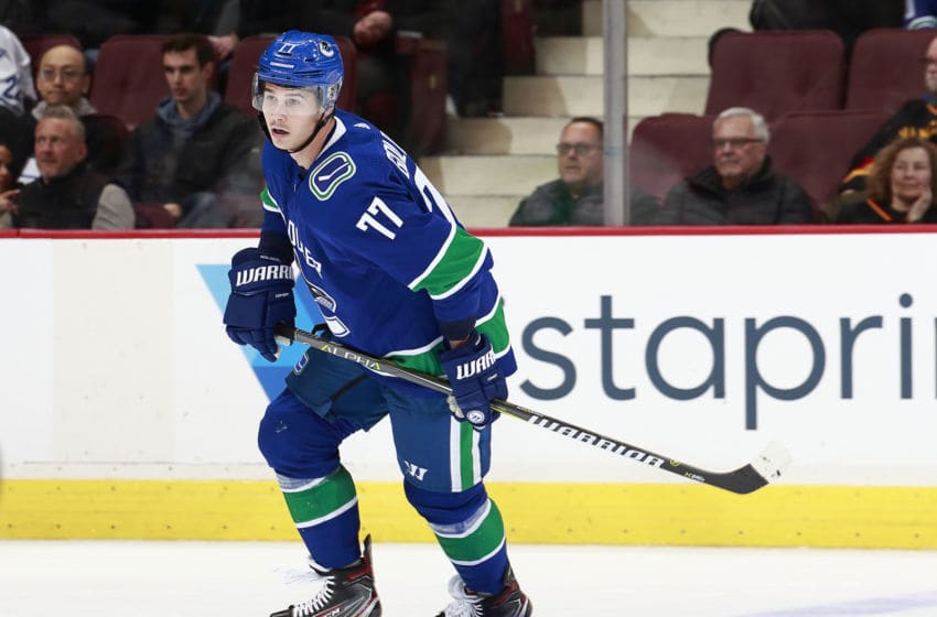 VANCOUVER, BC - FEBRUARY 23: Nikolay Goldobin #77 of the Vancouver Canucks skates up ice during their NHL game against the New York Islanders at Rogers Arena February 23, 2019 in Vancouver, British Columbia, Canada. (Photo by Jeff Vinnick/NHLI via Getty Images)