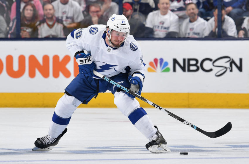 COLUMBUS, OH - APRIL 16: J.T. Miller #10 of the Tampa Bay Lightning skates against the Columbus Blue Jackets in Game Four of the Eastern Conference First Round during the 2019 NHL Stanley Cup Playoffs on April 16, 2019 at Nationwide Arena in Columbus, Ohio. Columbus defeated Tampa Bay 7-3 to win the series 4-0. (Photo by Jamie Sabau/NHLI via Getty Images)