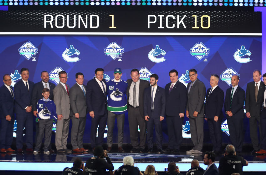 VANCOUVER, BC - JUNE 21: Vasily Podkolzin is selected tenth overall by the Vancouver Canucks during Round One of the 2019 NHL Draft at Rogers Arena on June 21, 2019 in Vancouver, Canada. (Photo by Devin Manky/Icon Sportswire via Getty Images)