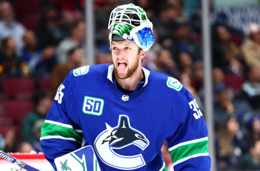 VANCOUVER, BC - SEPTEMBER 25: Vancouver Canucks Goaltender Thatcher Demko (35) sticks out his tongue during a break in play in their NHL preseason game against the Ottawa Senators at Rogers Arena on September 25, 2019 in Vancouver, British Columbia, Canada. (Photo by Devin Manky/Icon Sportswire via Getty Images)