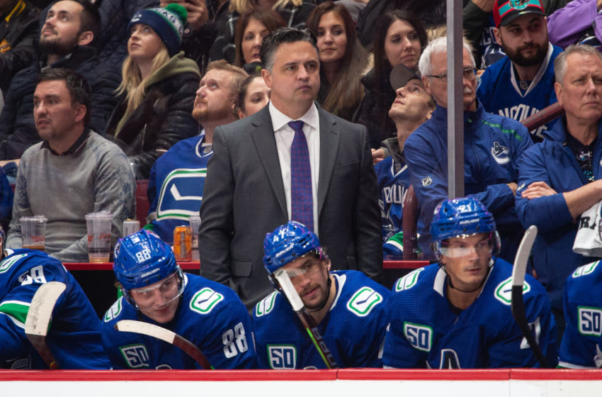 VANCOUVER, BC - NOVEMBER 12: Vancouver Canucks Head Coach Travis Green looks on during their NHL game against the Nashville Predators at Rogers Arena on November 12, 2019 in Vancouver, British Columbia, Canada. Vancouver won 5-3. (Photo by Derek Cain/Icon Sportswire via Getty Images)
