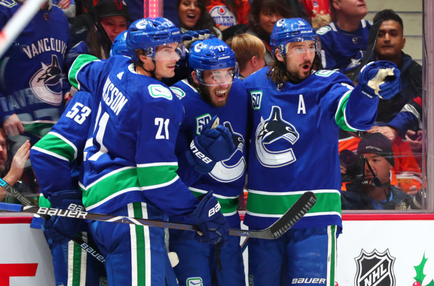 VANCOUVER, BC - DECEMBER 01: The Vancouver Canucks celebrate a goal by Right Wing Josh Leivo (17) during their NHL game against the Edmonton Oilers at Rogers Arena on December 1, 2019 in Vancouver, British Columbia, Canada. (Photo by Devin Manky/Icon Sportswire via Getty Images)
