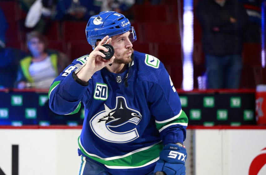 VANCOUVER, BC - DECEMBER 21: J.T. Miller #9 of the Vancouver Canucks waves to fans after their game against the Pittsburgh Penguins at Rogers Arena December 21, 2019 in Vancouver, British Columbia, Canada. Vancouver won 4-1. (Photo by Jeff Vinnick/NHLI via Getty Images)