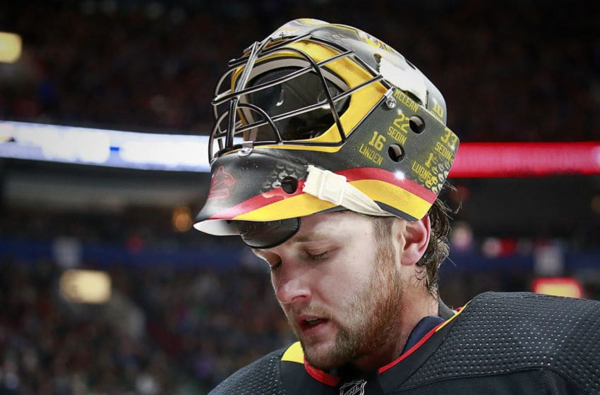 VANCOUVER, BC - DECEMBER 7: Thatcher Demko #35 of the Vancouver Canucks looks on from his crease during their NHL game against the Buffalo Sabres at Rogers Arena December 7, 2019 in Vancouver, British Columbia, Canada. (Photo by Jeff Vinnick/NHLI via Getty Images)