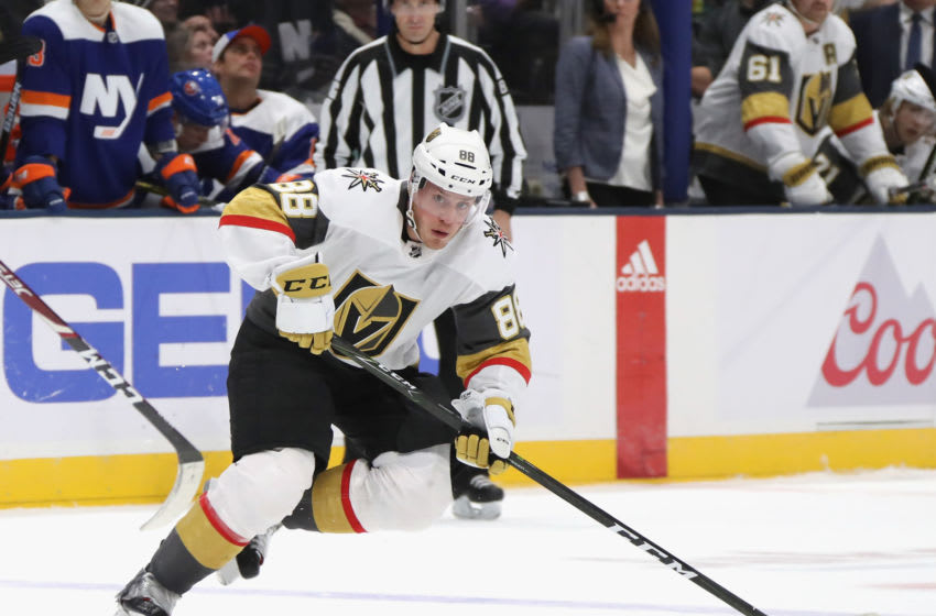UNIONDALE, NEW YORK - DECEMBER 05: Nate Schmidt #88 of the Vegas Golden Knights skates against he New York Islanders at NYCB Live's Nassau Coliseum on December 05, 2019 in Uniondale, New York. (Photo by Bruce Bennett/Getty Images)