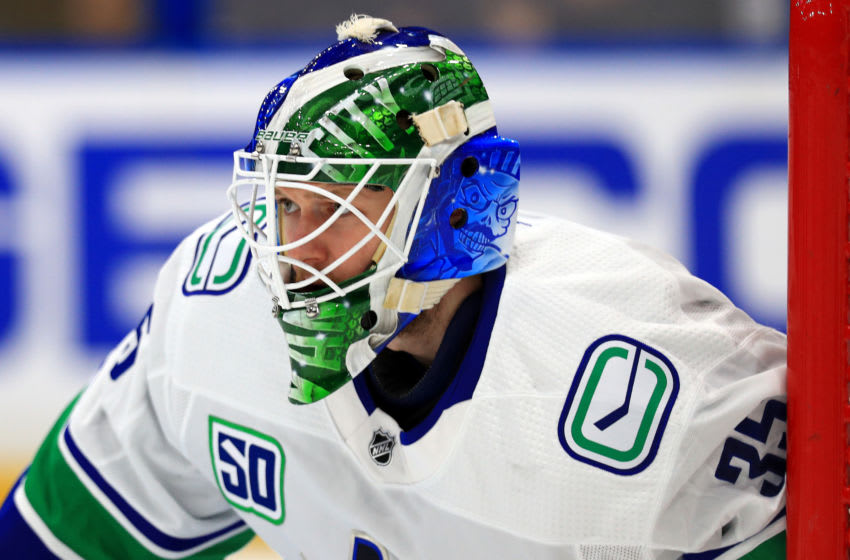 TAMPA, FLORIDA - JANUARY 07: Thatcher Demko #35 of the Vancouver Canucks looks on during a game against the Tampa Bay Lightning at Amalie Arena on January 07, 2020 in Tampa, Florida. (Photo by Mike Ehrmann/Getty Images)