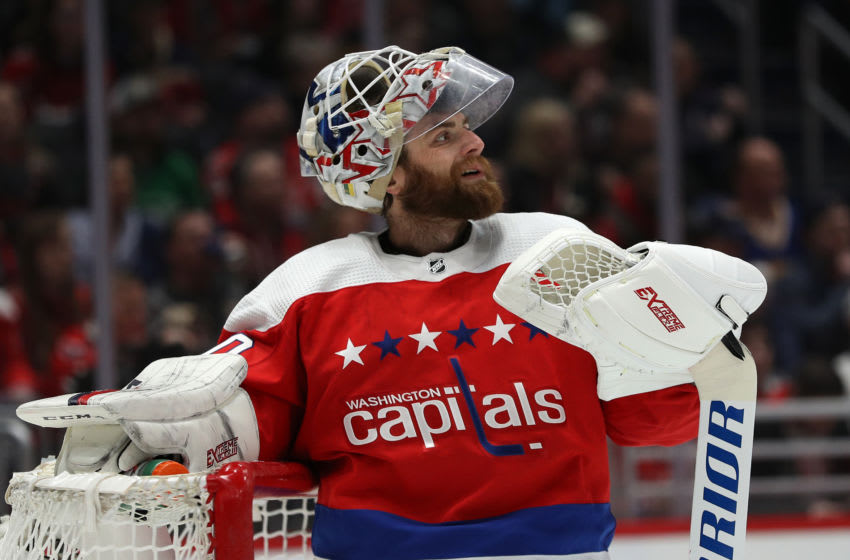 WASHINGTON, DC - FEBRUARY 23: Braden Holtby #70 of the Washington Capitals looks on against the Pittsburgh Penguins during the first period at Capital One Arena on February 23, 2020 in Washington, DC. (Photo by Patrick Smith/Getty Images)