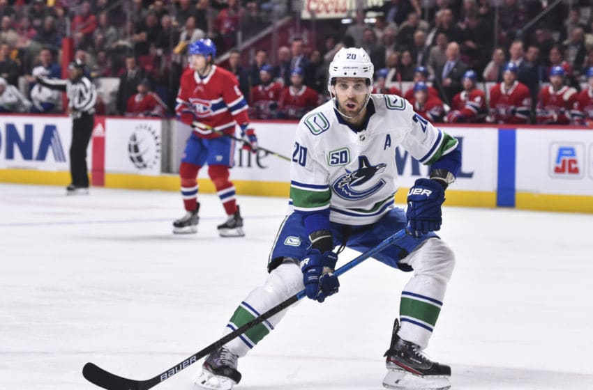 MONTREAL, QC - FEBRUARY 25: Brandon Sutter #20 of the Vancouver Canucks skates against the Montreal Canadiens during the second period at the Bell Centre on February 25, 2020 in Montreal, Canada. The Vancouver Canucks defeated the Montreal Canadiens 4-3 in overtime. (Photo by Minas Panagiotakis/Getty Images)