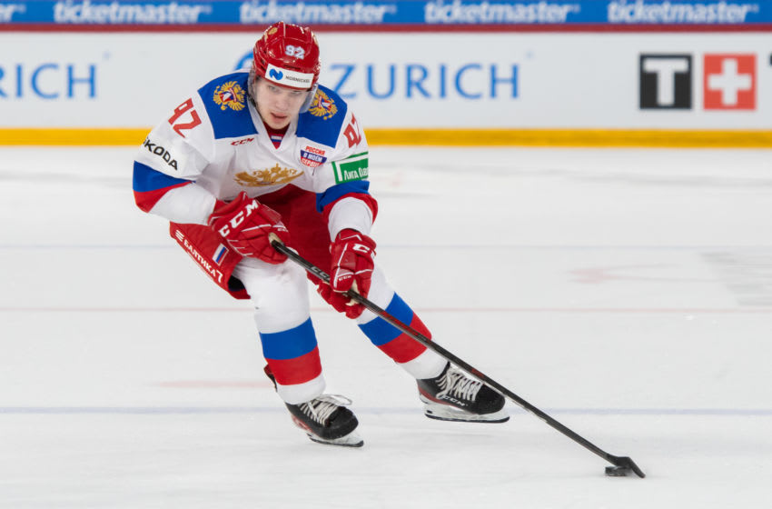 BIEL, SWITZERLAND - MAY 01: Vasily Podkolzin #92 of Russia in action during the Ice Hockey International Friendly game between Switzerland and Russia at Tissot-Arena on May 1, 2021 in Biel, Switzerland. (Photo by RvS.Media/Basile Barbey/Getty Images)