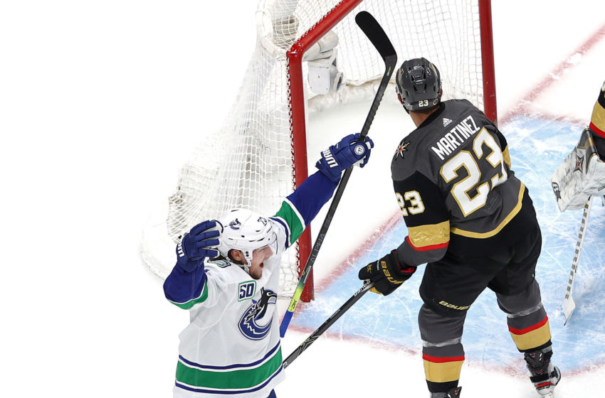 EDMONTON, ALBERTA - AUGUST 25: Tyler Toffoli #73 of the Vancouver Canucks celebrates after scoring a goal against the Vegas Golden Knights during the first period in Game Two of the Western Conference Second Round during the 2020 NHL Stanley Cup Playoffs at Rogers Place on August 25, 2020 in Edmonton, Alberta, Canada. (Photo by Bruce Bennett/Getty Images)