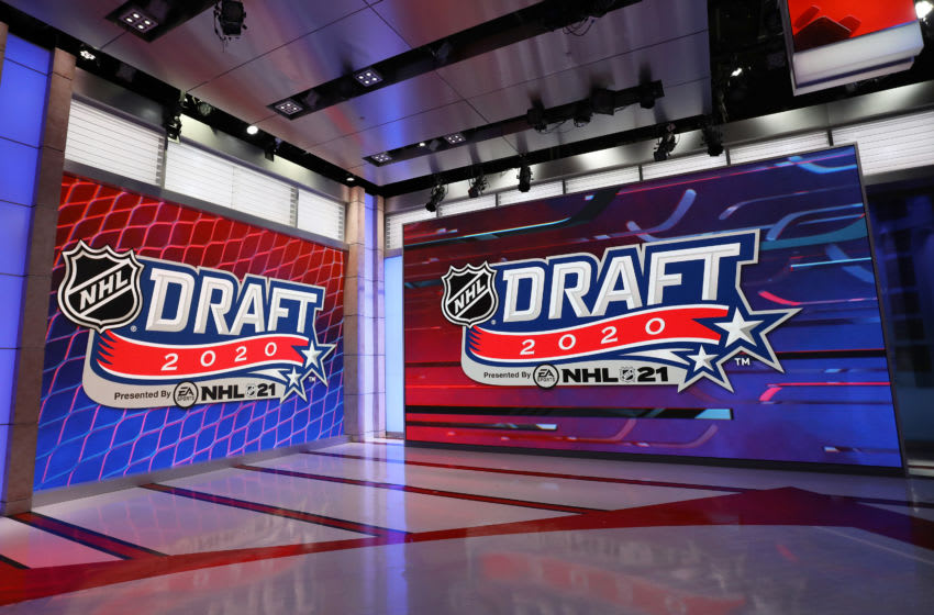 SECAUCUS, NEW JERSEY - OCTOBER 06: Signage during the first round of the 2020 National Hockey League (NHL) Draft at the NHL Network Studio on October 06, 2020 in Secaucus, New Jersey. (Photo by Mike Stobe/Getty Images)