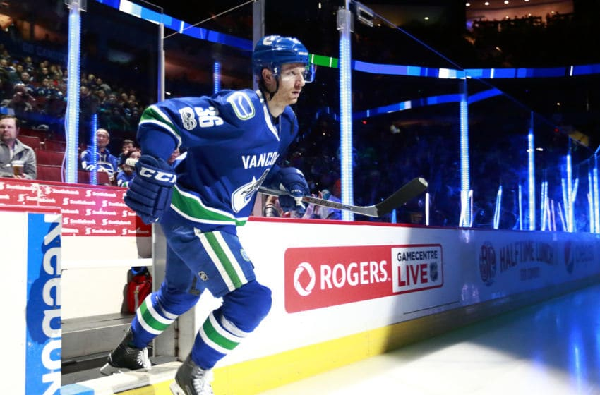 VANCOUVER, BC - FEBRUARY 25: Jannik Hansen #36 of the Vancouver Canucks steps onto the ice during their NHL game against the San Jose Sharks at Rogers Arena February 25, 2017 in Vancouver, British Columbia, Canada. (Photo by Jeff Vinnick/NHLI via Getty Images)