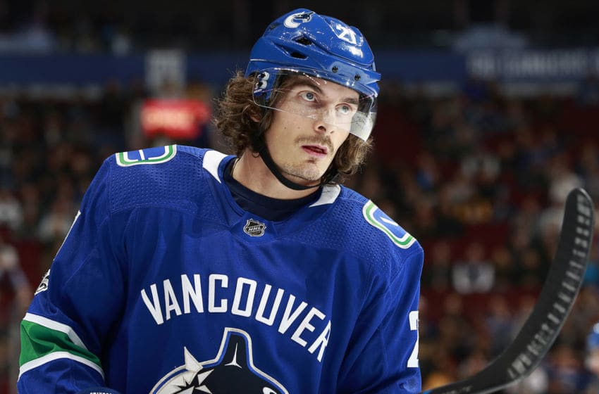 VANCOUVER, BC - DECEMBER 13: Loui Eriksson #21 of the Vancouver Canucks skates up ice during their NHL game against the Nashville Predators at Rogers Arena December 13, 2017 in Vancouver, British Columbia, Canada. (Photo by Jeff Vinnick/NHLI via Getty Images)