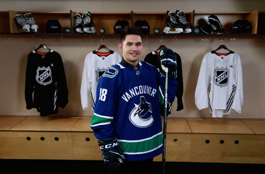 DALLAS, TX - JUNE 23: Jett Woo poses for a portrait after being selected 37th overall by the Vancouver Canucks during the 2018 NHL Draft at American Airlines Center on June 23, 2018 in Dallas, Texas. (Photo by Jeff Vinnick/NHLI via Getty Images)