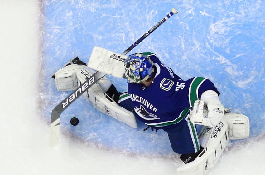 VANCOUVER, BC - JANUARY 18: Thatcher Demko #35 of the Vancouver Canucks makes a save during their NHL game against the Buffalo Sabres at Rogers Arena January 18, 2019 in Vancouver, British Columbia, Canada. Vancouver won 4-3. (Photo by Jeff Vinnick/NHLI via Getty Images)