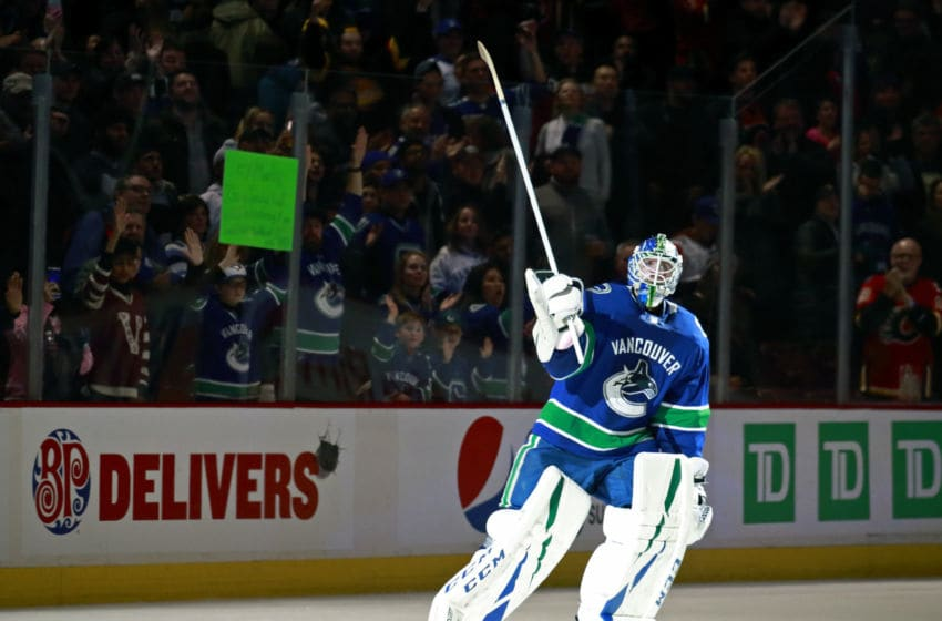 VANCOUVER, BC - FEBRUARY 9: Jacob Markstrom #25 of the Vancouver Canucks waves to fans after their NHL game against the Calgary Flames at Rogers Arena February 9, 2019 in Vancouver, British Columbia, Canada. Vancouver won 4-3. (Photo by Jeff Vinnick/NHLI via Getty Images)