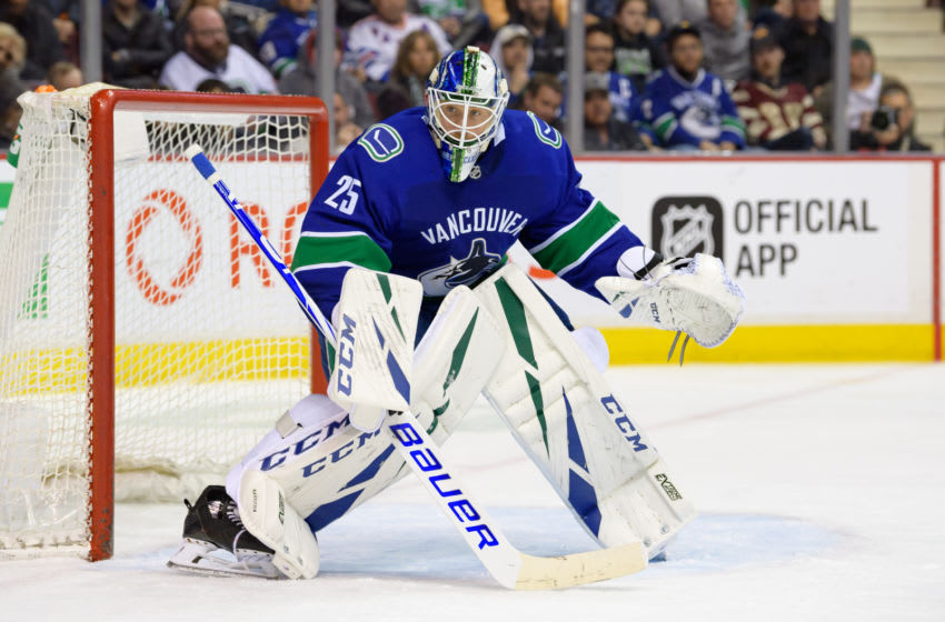 VANCOUVER, BC - MARCH 13: Vancouver Canucks Goaltender Jacob Markstrom (25) watches the play during their NHL game against the New York Rangers at Rogers Arena on March 13, 2019 in Vancouver, British Columbia, Canada. Vancouver won 4-1. (Photo by Derek Cain/Icon Sportswire via Getty Images)