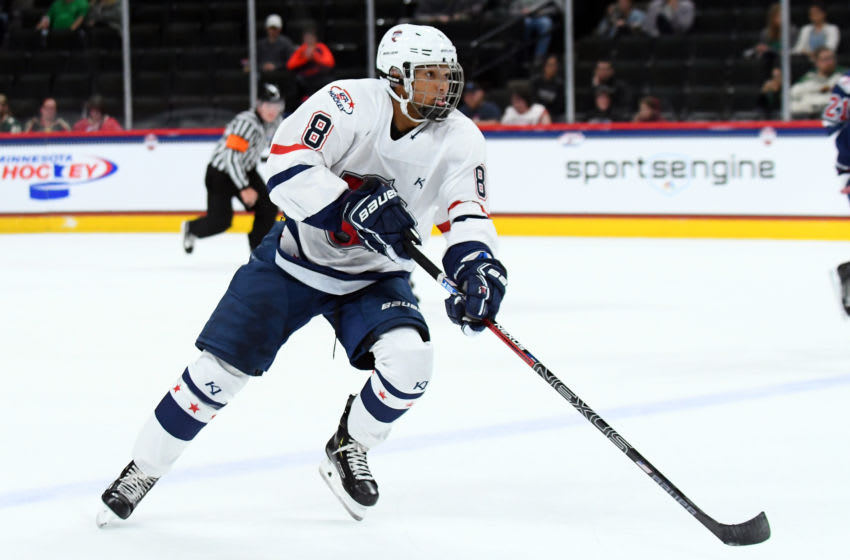 ST. PAUL, MN - SEPTEMBER 19: Team Langenbrunner defenseman Marshall Warren (8) skates with the puck during the USA Hockey All-American Prospects Game between Team Leopold and Team Langenbrunner on September 19, 2018 at Xcel Energy Center in St. Paul, MN. Team Leopold defeated Team Langenbrunner 6-4.(Photo by Nick Wosika/Icon Sportswire via Getty Images)