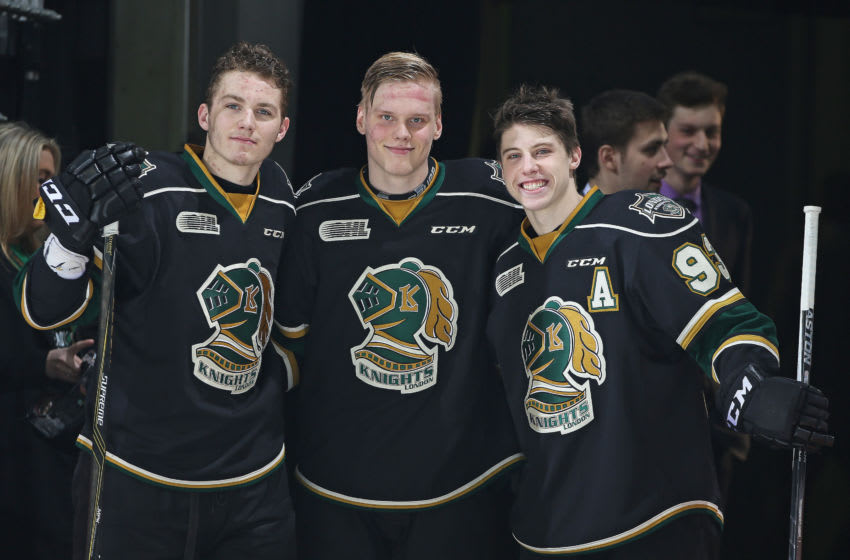 LONDON, ON - APRIL 26: The London Knights trio of Matthew Tkachuk #7, Olli Juolevi #4, and Mitchell Marner #93 celebrate their 3 star selections after defeating the Erie Otters in Game Three of the OHL Western Conference Final on April 26, 2016 at Budweiser Gardens in London, Ontario, Canada. The Knights defeated the Otters 5-1 to take a 3-0 series lead. (Photo by Claus Andersen/Getty Images)