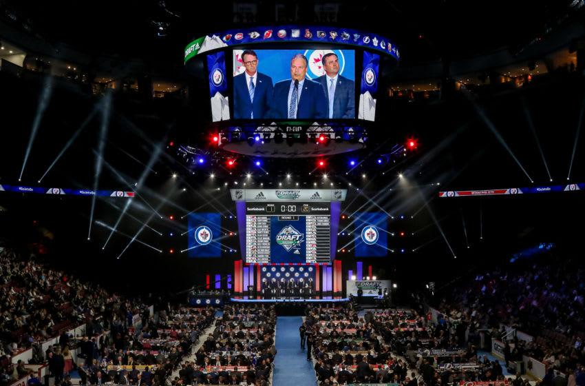 VANCOUVER, BC - JUNE 21: A general view of the draft floor prior to the Winnipeg Jets pick during the first round of the 2019 NHL Draft at Rogers Arena on June 21, 2019 in Vancouver, British Columbia, Canada. (Photo by Jonathan Kozub/NHLI via Getty Images)