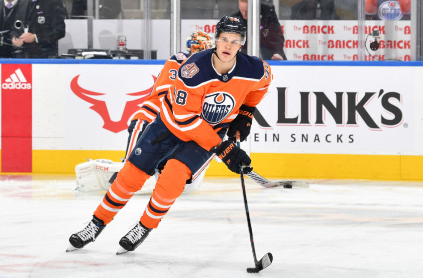 EDMONTON, AB - NOVEMBER 27: Jesse Puljujarvi #98 of the Edmonton Oilers warms up prior to the game against the Dallas Stars on November 27, 2018 at Rogers Place in Edmonton, Alberta, Canada. (Photo by Andy Devlin/NHLI via Getty Images)