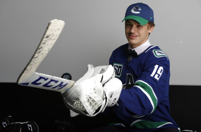 VANCOUVER, BRITISH COLUMBIA - JUNE 22: Arturs Silovs poses after being selected 156th overall by the Vancouver Canucks during the 2019 NHL Draft at Rogers Arena on June 22, 2019 in Vancouver, Canada. (Photo by Kevin Light/Getty Images)