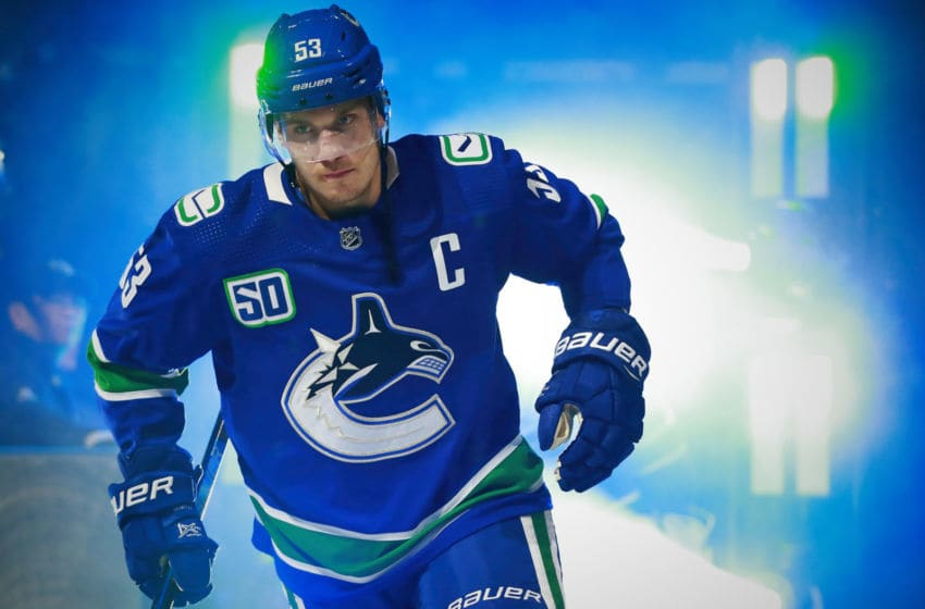 VANCOUVER, BC - OCTOBER 15: Bo Horvat #53 of the Vancouver Canucks steps onto the ice during their NHL game against the Detroit Red Wings at Rogers Arena October 15, 2019 in Vancouver, British Columbia, Canada. (Photo by Jeff Vinnick/NHLI via Getty Images)