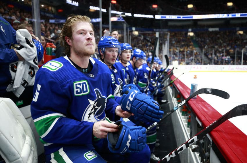 VANCOUVER, BC - NOVEMBER 12: Brock Boeser #6 of the Vancouver Canucks looks on from the bench during their NHL game against the Nashville Predators at Rogers Arena November 12, 2019 in Vancouver, British Columbia, Canada. (Photo by Jeff Vinnick/NHLI via Getty Images)