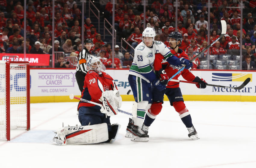 Nov 23, 2019; Washington, DC, USA; Washington Capitals goaltender Braden Holtby (70) makes a save in front of Vancouver Canucks center Bo Horvat (53) and Capitals defenseman Jonas Siegenthaler (34) in the second period at Capital One Arena. Mandatory Credit: Geoff Burke-USA TODAY Sports
