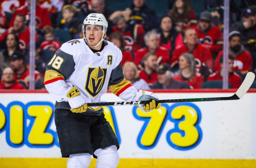 Mar 8, 2020; Calgary, Alberta, CAN; Vegas Golden Knights defenseman Nate Schmidt (88) skates against the Calgary Flames during the third period at Scotiabank Saddledome. Mandatory Credit: Sergei Belski-USA TODAY Sports