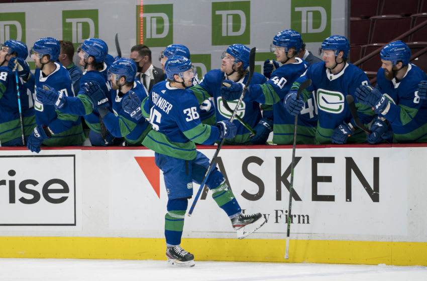 Jan 23, 2021; Vancouver, British Columbia, CAN; Vancouver Canucks forward Nils Hoglander (36) celebrates after scoring his first goal against the Montreal Canadiens in the third period at Rogers Arena. Mandatory Credit: Bob Frid-USA TODAY Sports
