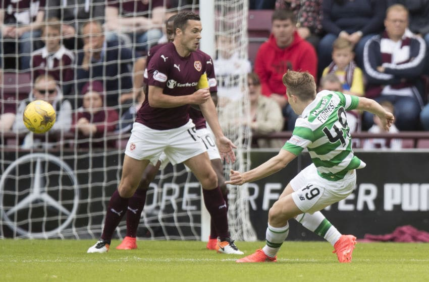 EDINBURGH, SCOTLAND - AUGUST 7: James Forrest scores his goal during the Ladbrokes Scottish Premiership match between Hearts and Celtic on August 7, 2016 in Glasgow, Edinburgh. (Photo by Steve Welsh/Getty Images)