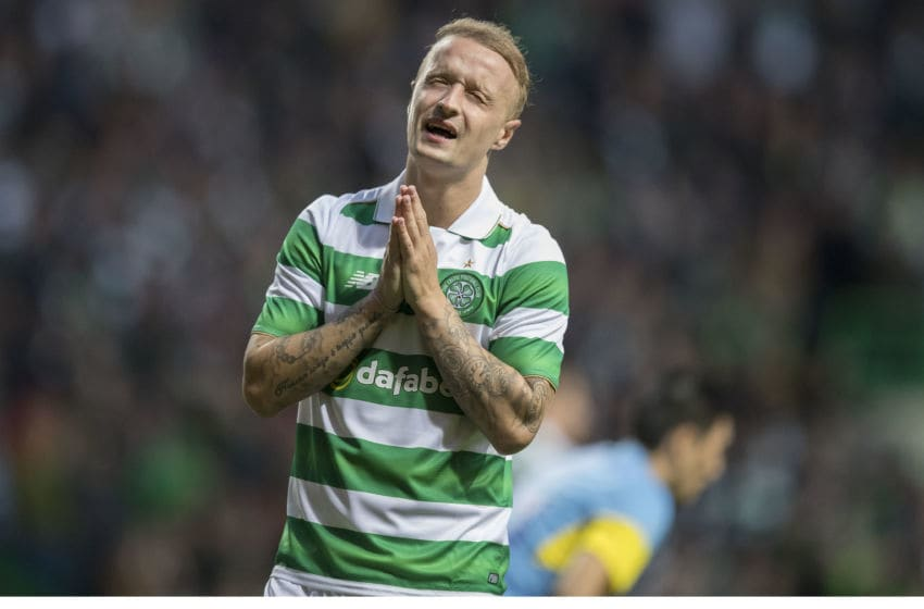 GLASGOW, SCOTLAND - AUGUST 03: Leigh Griffiths of Celtic reacts as he misses a fine chance to score during the UEFA Champions League, Third Round, Second Leg between Celtic and Astana at Celtic Park on AUGUST 3, 2016 in Glasgow, Scotland. (Photo by Steve Welsh/Getty Images)